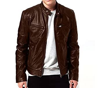 Gordania Bomber Series Men's Slim Fit Zipper Jackets GD274BR_Brown_Small