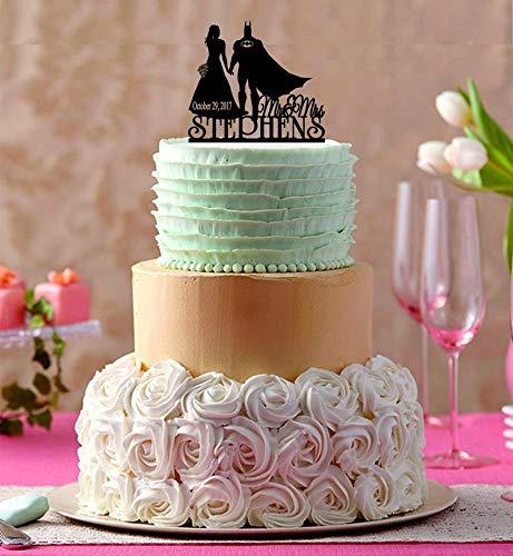 Tortenaufsatz Brautpaar mit Batman-Silhouette, Mr and Mrs, Hochzeitstorte Topper, individuell