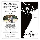 30 x Hochzeit Dankeskarten Danksagungskarten Danksagung Foto individuell - Black and White Brautpaar Weiß