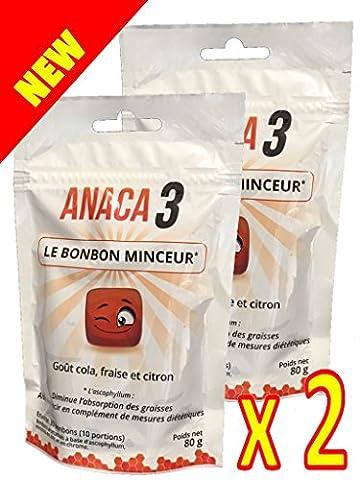 Anaca 3 - Le BONBON MINCEUR Anaca3 - Gout Cola Fraise et Citron - Diminue l'absorption des graisses - Lot de 2 Sachets de 80g Anaca3