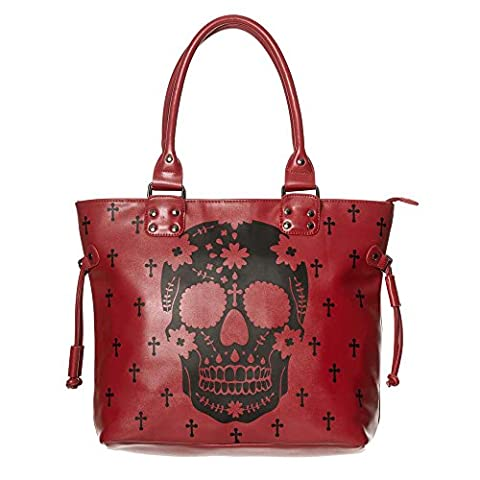 He's A Rebel bag with skull print red - Banned