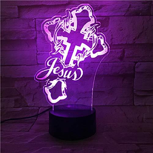 LLXPDZ 3D Nachtlicht Wohnzimmer Dekor Schreibtischlampe Religion Christian Jesus Cross Nightlight Touch Sensor Led
