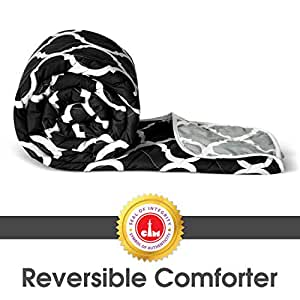Divine Casa Home Linen Microfiber Reversible Lightweight Single Bed Comforter (Abstract Black and Grey, 110 GSM)