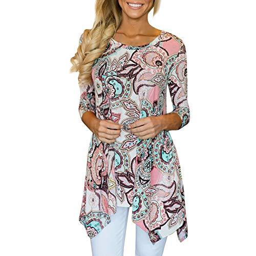CANDLLY Damen T-Shirt, Hemd Lässige Unregelmäßige Gedruckte Oberteile Bluse Tägliche Langarmshirt Tunika Oansatz Pullover Lose Tops T-Shirts Blusen Rosa(Rosa,M)