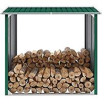 UnfadeMemory Cobertizo de Leña,Cobertizo de Almacenamiento de Leña Troncos,Soporte para Leña,Acero Galvanizado (Verde, 172x91x154cm)