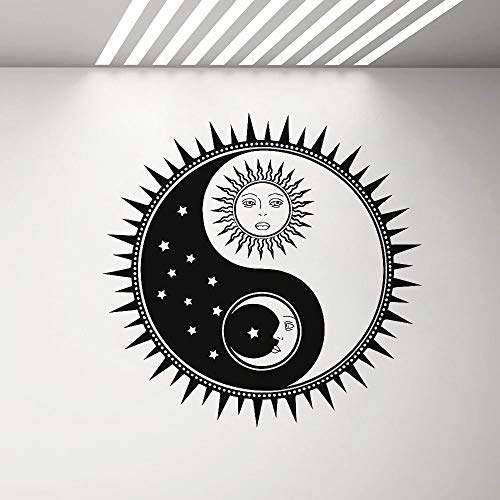 Yin Yang Relativität Wand Vinyl Aufkleber Home Interior Decor Wohnzimmer Abnehmbare Wandtattoo Starke Klebstoff Sun Moon 57 * 59 cm