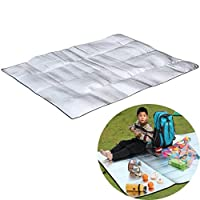 Sansee Home Double Side Picnic Blanket Mat,Sansee Portable Waterproof Aluminum Foil EVA Camping Mat 120 * 200cm Foldable Sleeping Beach Mat for Camping Yoga Lawn Mat Cushion Moistureproof