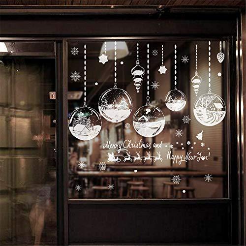 entfernbare Wandaufkleber Weihnachtsdekoration Party Supplies - Urlaub Fenster Aufkleber - White Christmas Bell Flower Balls Wandtattoos ()
