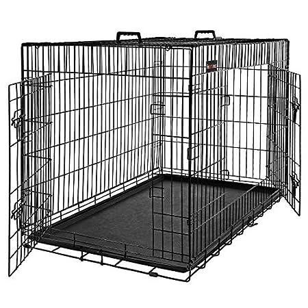 FEANDREA Hundekäfig, Hundebox, zusammenklappbar, 2 Türen