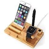 [3 in 1 Apple Watch Stand] iClever® Supporto Dock Ricarica Legno Bambù per Apple Watch / Sostegno Stazione Ricarica Multifunzionale per iPod iPhone iPad ed altri Cellulari Tablet