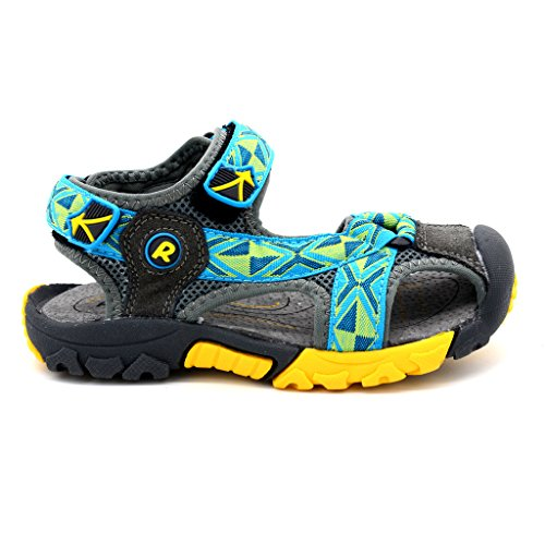 Bwiv sandali a strappo bambino con solette foderate di pelle sandali da spiaggia durevoli ragazzo delle taglie 24,5-38 EU Blu turchese