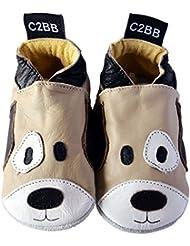 C2BB - Chaussons cuir souple garçon   Chien marron et beige