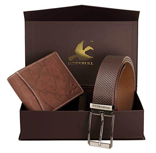 Hornbull Men's Brown Wallet and Belt Combo BW6989