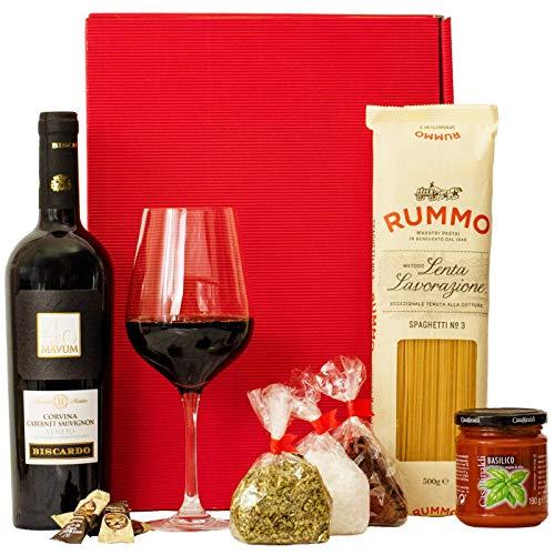Geschenkset Italien | Italienischer Geschenkkorb gefüllt mit Wein und Delikatessen | Geschenk Set mit italienischen Spezialitäten, Rotwein, Feinkost (Geschenk-korb Mit Wein)