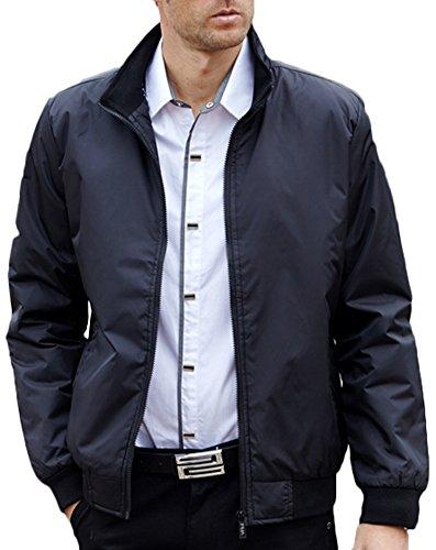 Mochoose Veste Classique Blouson Imperméable Bomber Zip Manches Longues Jacket Rétro Homme Noir