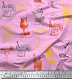 Soimoi Rosa Poly Georgette Stoff Tequila Sunrise, Margarita & Rosmarin Fizz Getränke Getränke Stoff Drucke Meter 52 Zoll breit