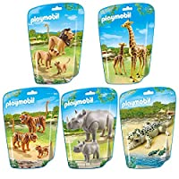 Playmobil Wild Animal Assortment Box (Tiger, Giraffe, Aligator, Lion & Rhino)