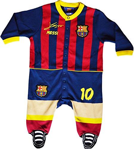Colección Oficial del FC Barcelona. Grenouillère bebé niño del Barça, Lionel Messi. Tamaño Bebé Niño. Material: Algodón. Producto oficial FC Barcelona, marca protegida.