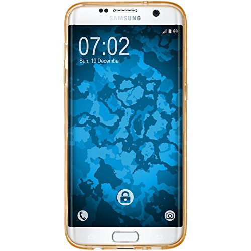 PhoneNatic Case für Samsung Galaxy S7 Edge Hülle Silikon hellblau Iced Cover Galaxy S7 Edge Tasche Case Gold