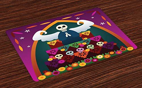 ABAKUHAUS Zuckerschädel Platzmatten, Engelsfigur mit Totenkopf auf dem Altar, um Dia de los Muertos zu feiern, Tiscjdeco aus Farbfesten Stoff für das Esszimmer und Küch, Mehrfarbig