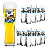 Van Well 12er Set Paulaner Weizenbierglas - 0,5 Liter Bierglas mit Oktoberfest Dekor