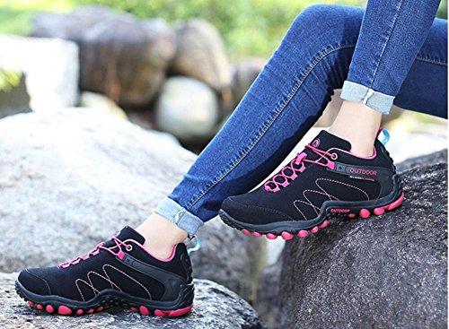 Suetar Unisex Scarpe da Escursionismo in Pelle Scarpe Sportive AllAria Aperta Moda Primavera ed Estate Leggero Traspirante Comodo Black Red