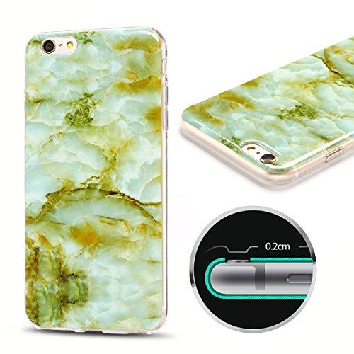 Coque iPhone 6 Plus , Etui TPU Silicone Souple Flexible Ultra Mince Protection Case Cover Mode Dessin Marbre Motif E-Lush Enveloppe Coque Pour Apple iPhone 6 Plus ( 5.5 pouces) Housse Cas Soft Slim Ge Vert