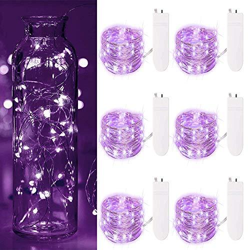 7Feet 20 Micro Led Lila Schnur-Licht-Batterie-wasserdichte Packung mit 6 Fairy Kupferdraht-Lichter dekorative Leuchten Powered für Familientreffen Hochzeit ()
