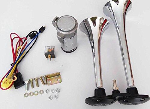QXXZ Auto Horn 24 V 150Db Luft Horn, Chrom Zink Dual Trompete Air Horn Mit Kompressor Für Alle 24V Fahrzeuge Trucks LKW Züge Boote Autos Vans -