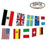 Newin Star 2018 WM Nationalflagen, Flagge Wimpelkette Gruppenspiel 32 Teams Länder Fußball Dekoration Banner für Restaurants, Sport Bars, Spiel Nacht - 9 m 32 Flaggen
