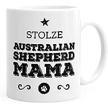 Stolze Australian Shepherd Mama Frauchen Tasse zweifarbig