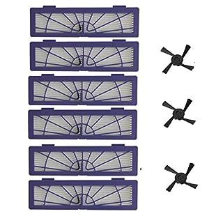 aiskaer 6Hochleistungs-Filter Ersatz + 3Seite Bürste für alle Neato BotVac Serie Modelle 70E 758085