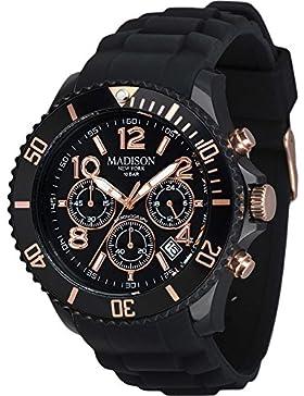 Madison New York Unisex-Armbanduhr Candy Chrono Chronograph Silikon U4362A3 Schwarz-Gold