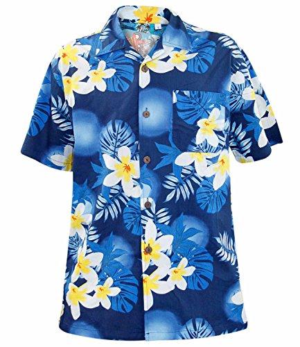 True Face Mens Big Small Flower Parrot Hawaiian T-Shirt