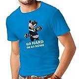 Camisetas Hombre Go Hard or Go Home - Boxeo, Levantamiento, Gimnasio, Fitness - Ropa de Ejercicio Divertido (Large Azul