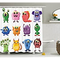 Ambesonne Funny Decor Shower Curtain Set, Animated Bacteria Aliens Theme Germ Whimsical Cartoon Monsters with Humor Faces Graphic Artwork, Bathroom Accessories, 69W X 70L Inches, Multi