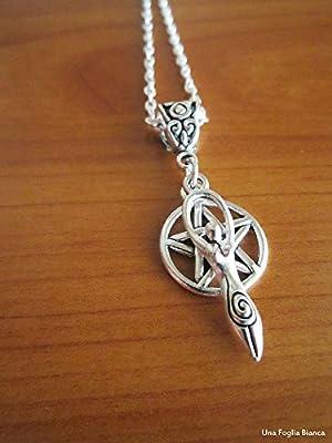 Collier triquetra déesse mère pentacle breloques celtique bijoux fait main