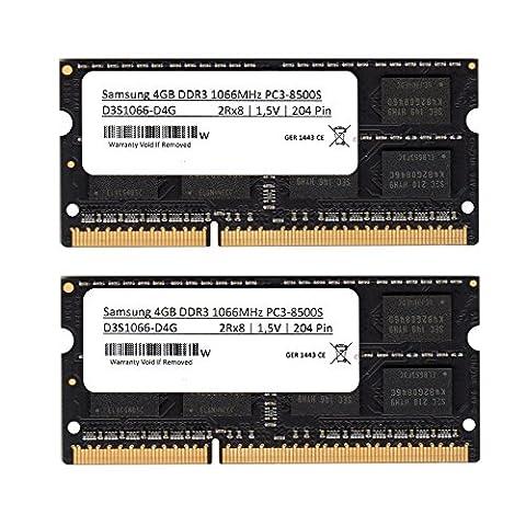 Samsung DDR33rd Kit de 8 Go de mémoire RAM (2 x 4 Go) DDR3 1066 MHz (PC3 8500) So DIMM mémoire RAMpour Notebook et ordinateur portable (pour Apple &