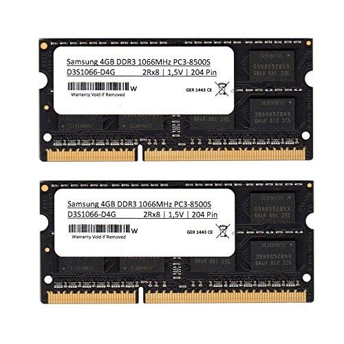 Samsung 3rd 8GB (2x 4GB) Kit DDR3 1066MHz (PC3 8500) SO Dimm Notebook Laptop Arbeitsspeicher RAM Memory (Für Apple & PC) -
