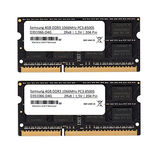 Samsung 3rd 8GB (2x 4GB) Kit DDR3 1066MHz (PC3 8500) SO Dimm Notebook Laptop Arbeitsspeicher RAM Memory (Für Apple & PC) Apple 4 Gb Notebook Ram