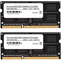 Samsung - Kit memoria SO-Dimm DDR3 con chip 3rd, 8GB (2 x 4GB), 1066 MHz (PC3 8500), per portatili (per Apple & PC)