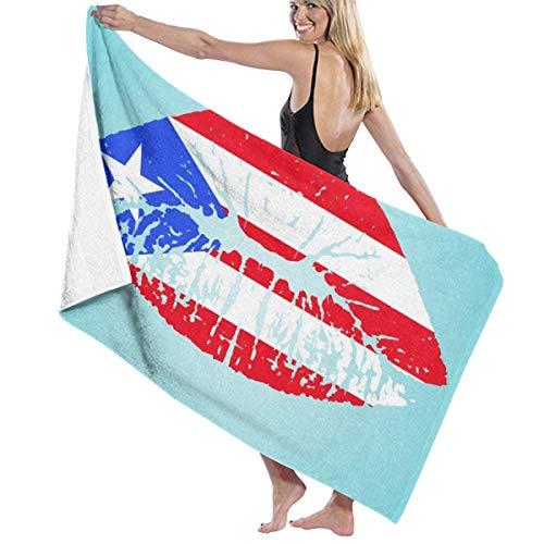 cleaer Strandtuch Decke Schnell Schnell Trocken Super Saugfähig Leichte Dünne Handtücher für Reise Pool Schwimmen Bad Camping Yoga Gym Sport Idee Puerto Rico Flagge Lippen (Trocken Bad Handtuch Schnell Reise)