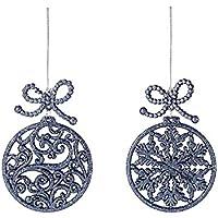 Confezione da 4 - 11cm grigio peltro bagattella a forma di albero Trims - fiocco di neve e Swirl Designs - Decorazioni Albero di