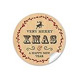 24 STICKER: 24 selbstklebende Geschenkaufkleber Weihnachtsaufkleber MERRY XMAS HIRSCH NATUR ROT Weihnachten • Format: 4 cm, rund, matt