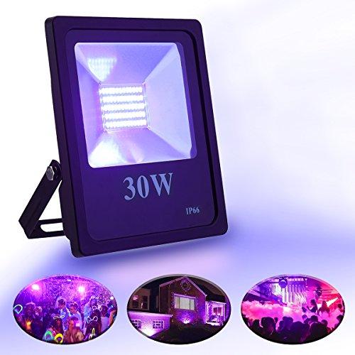 LED UV-Strahler, Elfeland 30W LED Flutlicht Scheinwerfer Licht Flutlichtstrahler Außenstrahler UV Beleuchtung Schwarzlicht IP66 Wasserdichtes...
