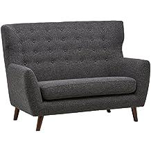 Rivet Hawthorne Modernes, getuftetes Zweisitzer-Sofa im Stil der 1950er Jahre, B 145cm, Kaviar