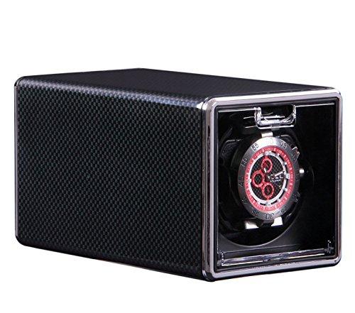 Watch winder 1+ 0 orologio a carica automatica con rotore, 4 modalità di rotazione e 2 cuscini in MDF,plug-in o 2 batterie AA,17*10*10cm , black3