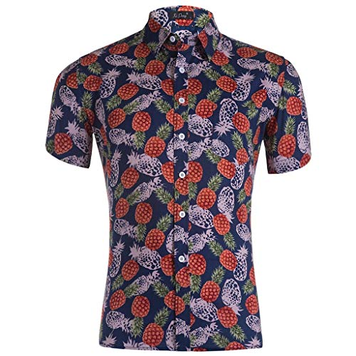 ODRD Hot Jugend Herren T-Shirt Frühling Sommer Hawaiian Beach Print Herren Revers Revers Engen Engen Kurzarm Top Shirt Lässiges Weste Vest T-Shirts Top Tanktop Bluse Tee t Shirts (Jugend Hawaiian Shirt)
