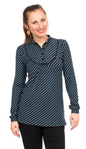 Viva la Mama Winter Shirt zum Stillen, Umstandsshirt Langarm für Schwangere I Stillbekleidung Umstandsshirt Streifen - Colette blau gestreift - S