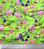 Soimoi Vert Mousse Georgette en Tissu Feuilles, Fleurs et Colibri Oiseau Tissu a Coudre Imprime par Metre 42 Pouce Large